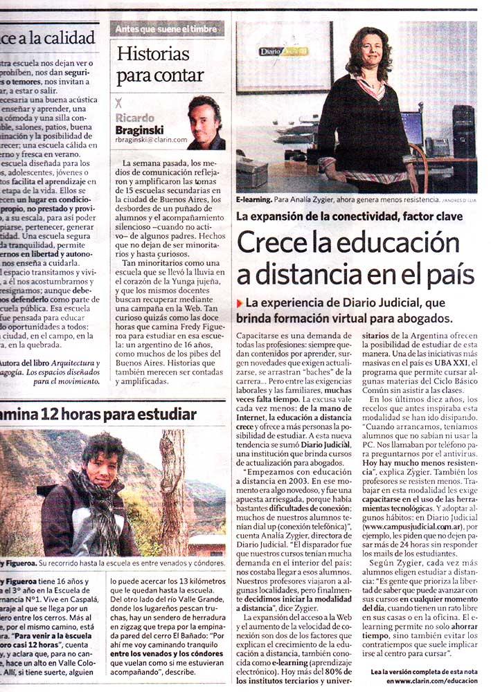 Nota diario Clarín 03 de octubre de 2013